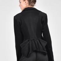 Extravagant Asymmetric Black Cashmere Coat A07181