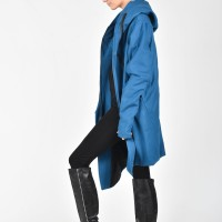 Asymmetric Extravagant Cashmere Hooded Coat  A07198