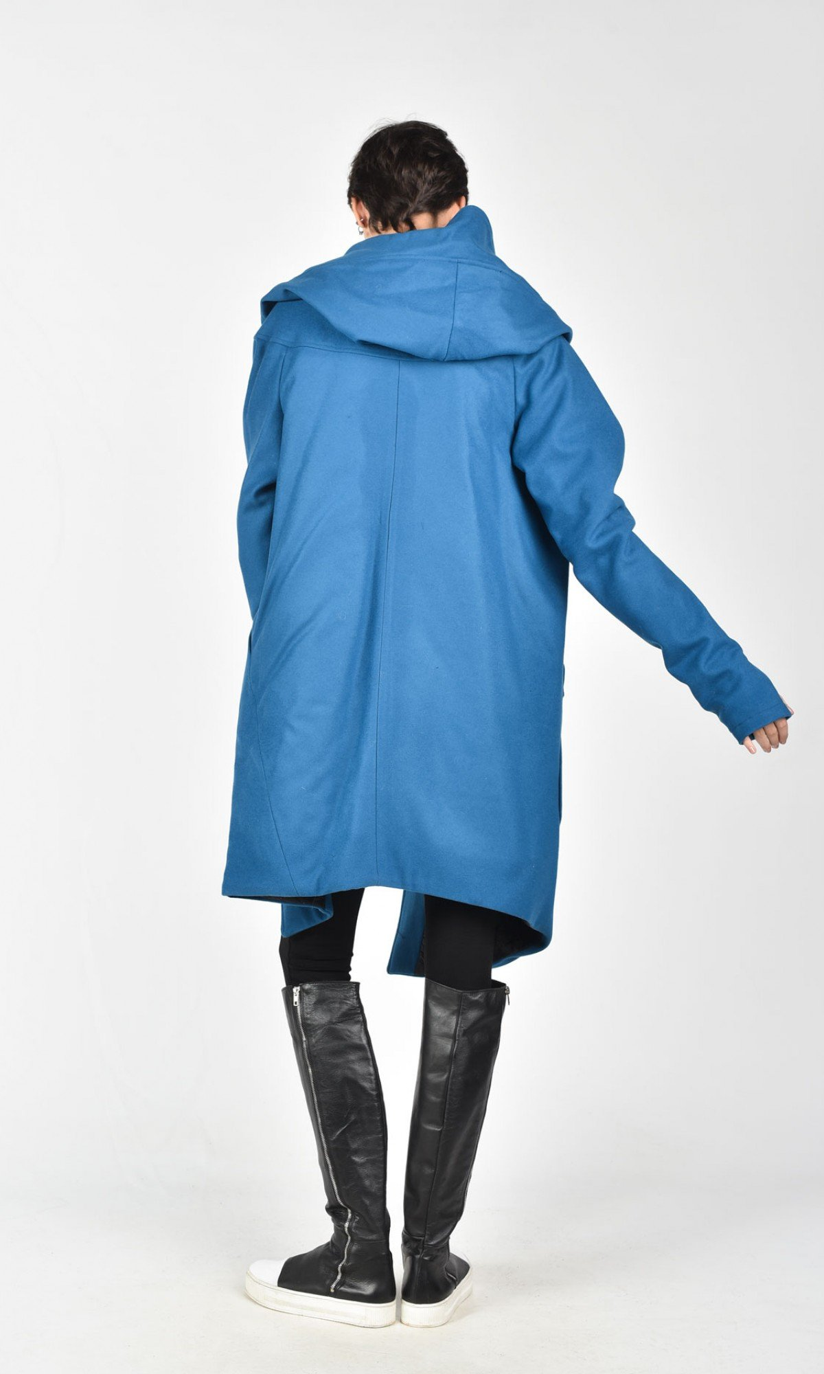 Asymmetric Extravagant Cashmere Hooded Coat  A07198