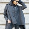 Extravagant Grey Hooded Poncho Coat