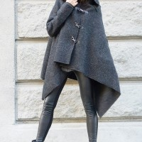 Extravagant Grey Hooded Poncho Coat  A07281