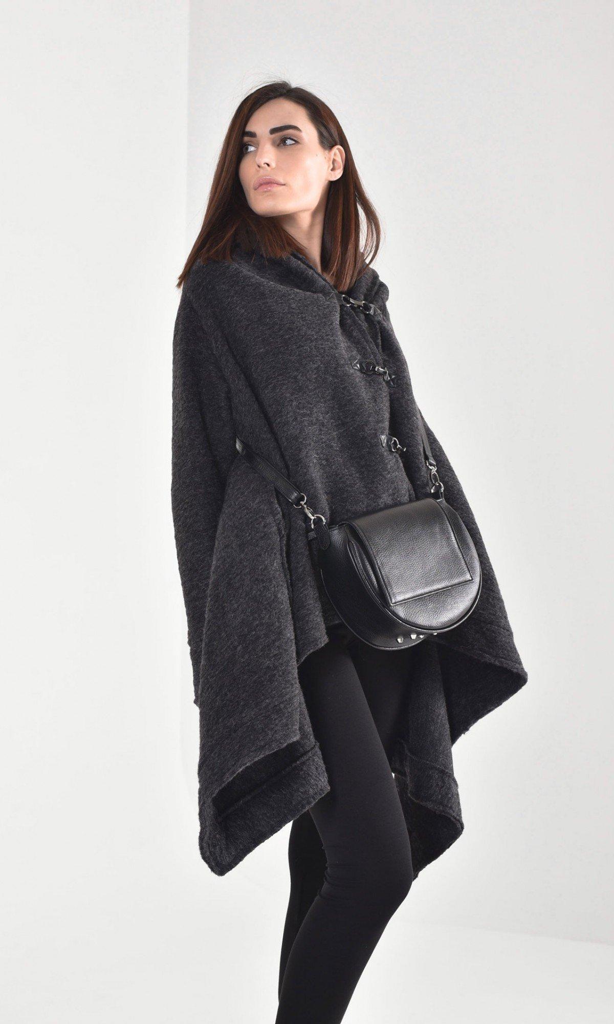 Extravagant Grey Hooded Poncho Coat  A07281