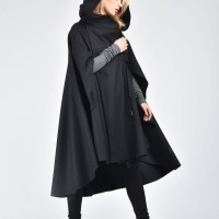 Winter Hooded Cape Coat A07335