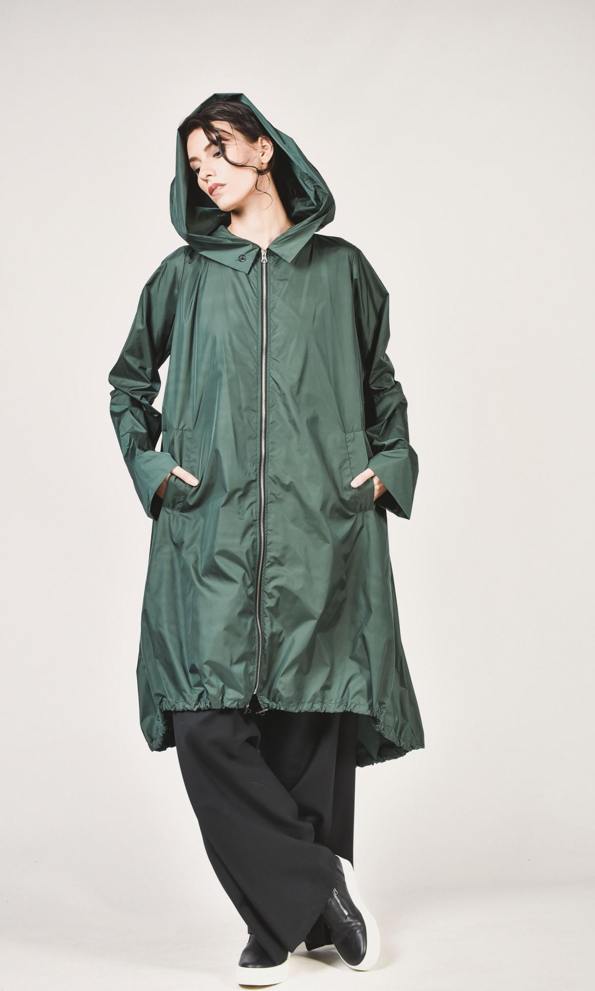 2ece46ecb8c4 Black Zipper Hooded Raincoat