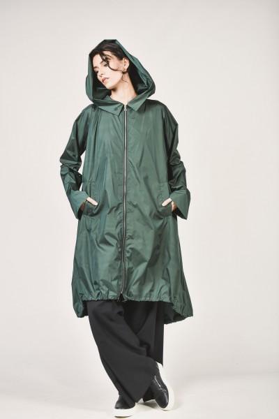 Black Zipper Hooded Raincoat A07372