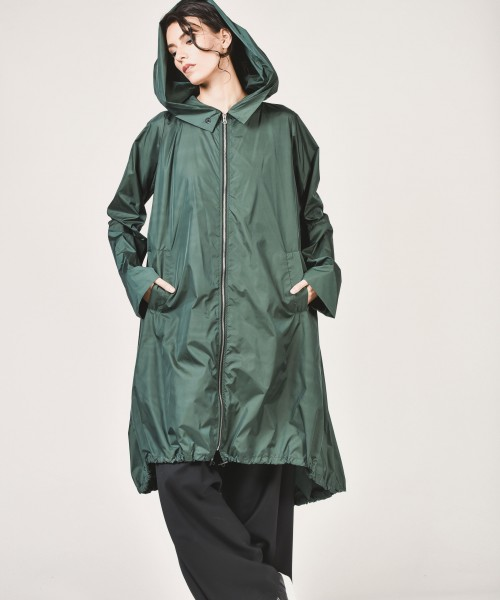 Black Zipper Hooded Raincoat A07372