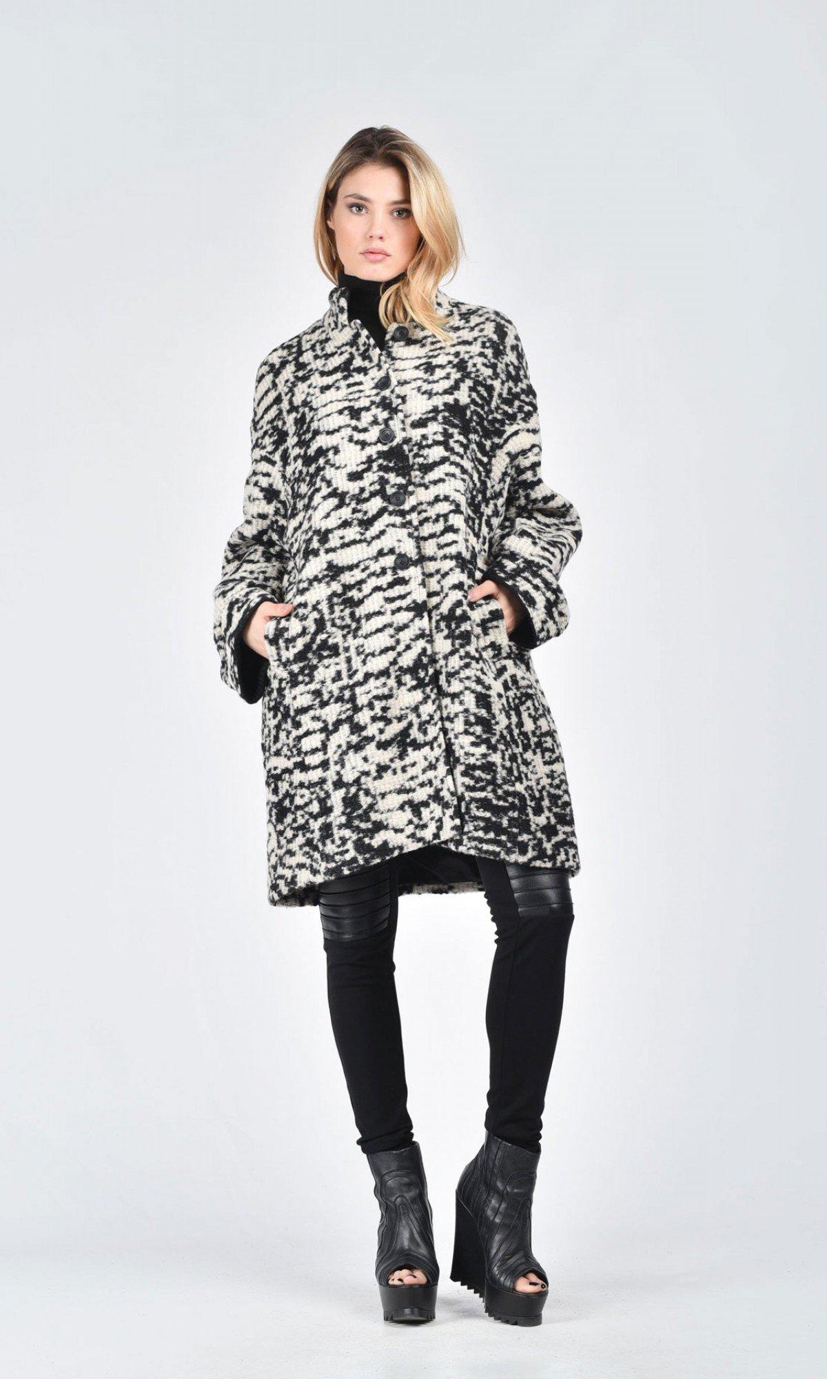 Black & White Boucle Coat A07502
