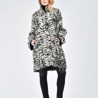 Black & White Hooded Boucle Coat A07502