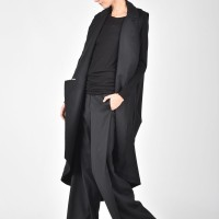 Asymmetric Black Sleeveless Coat A07516