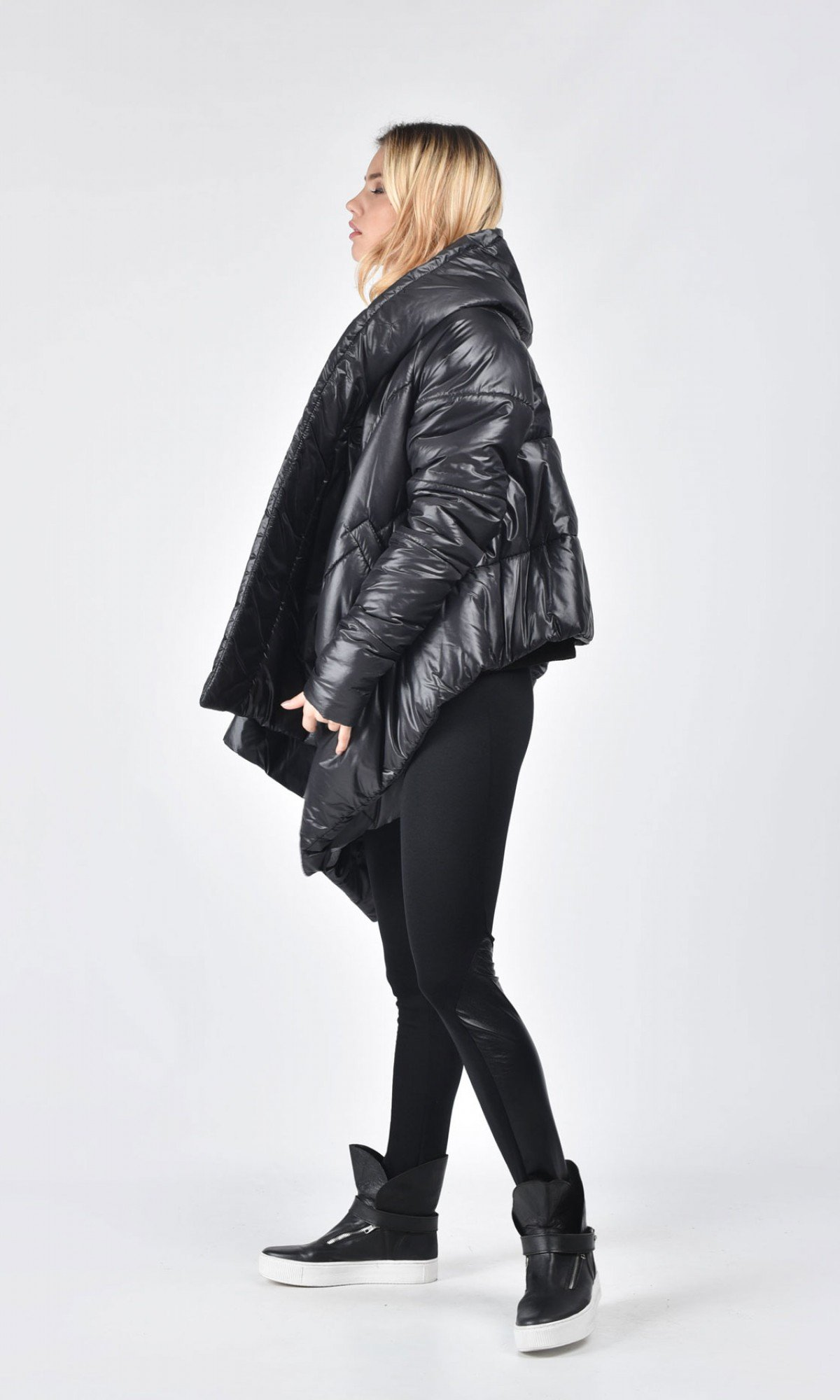 Short Asymmetric Extravagant Black Hooded Coat A07554