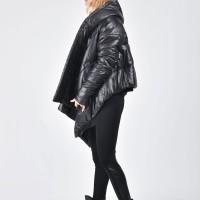 Short Asymmetric Extravagant Black Hooded Coat A07554