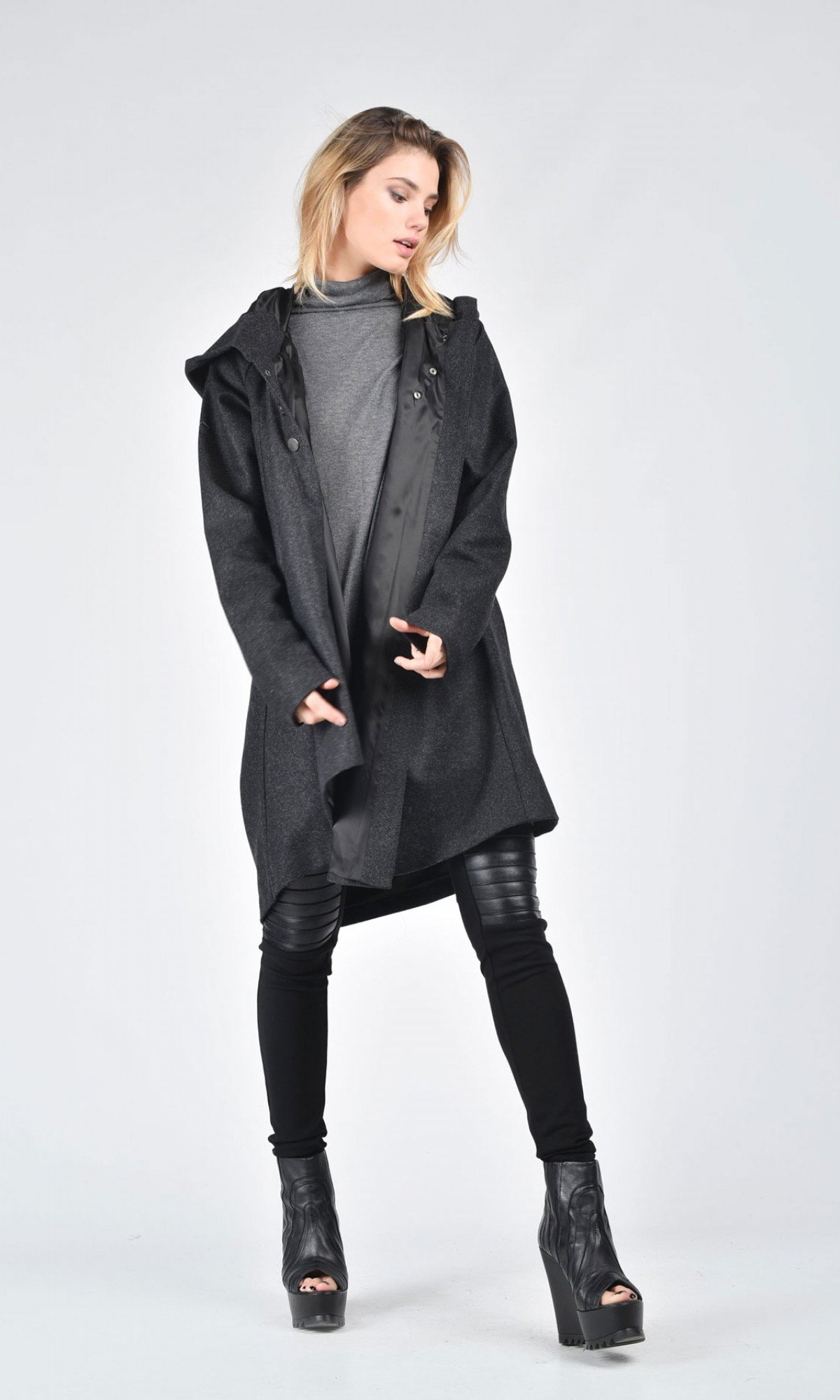 Extravagant Asymmetric Grey Hooded Coat A07570