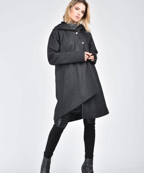 Extravagant Asymmetric Grey Hooded Coat A07570