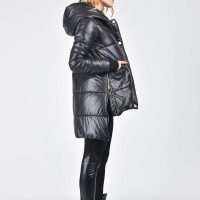 Asymmetric Black Quilted Hooded Coat A20553