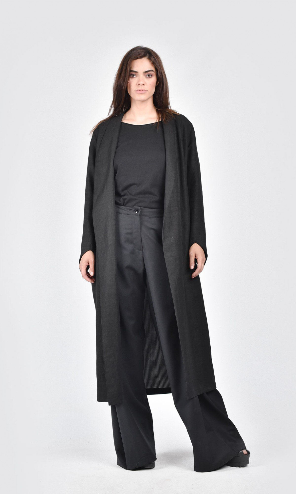 Sophisticated Extra long Linen Coat A07669