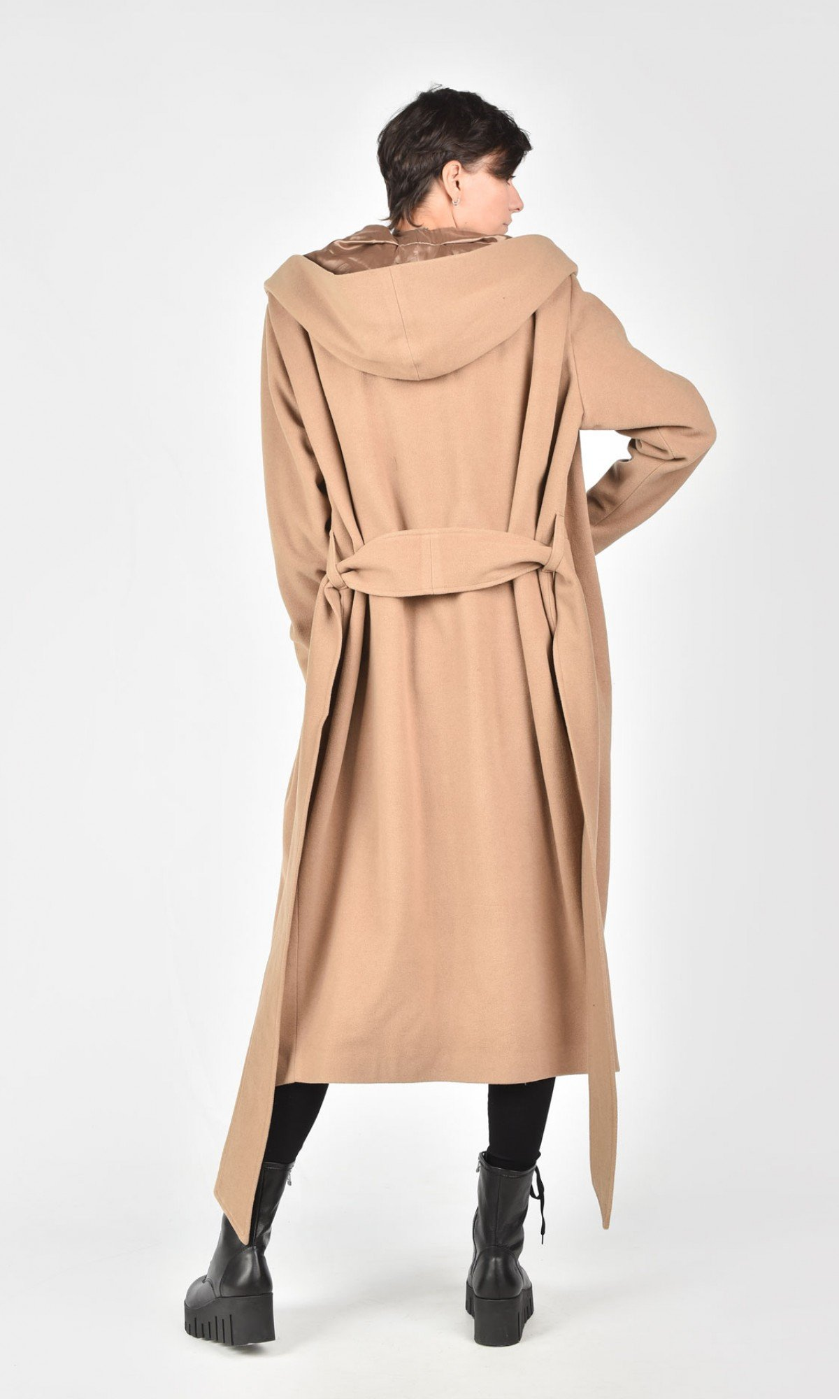 Extravagant Long Hooded Cashmere Coat A07709