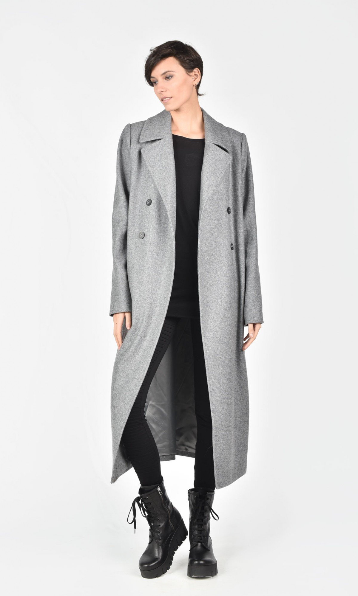 Double Breasted Wool Blend Coat A07713