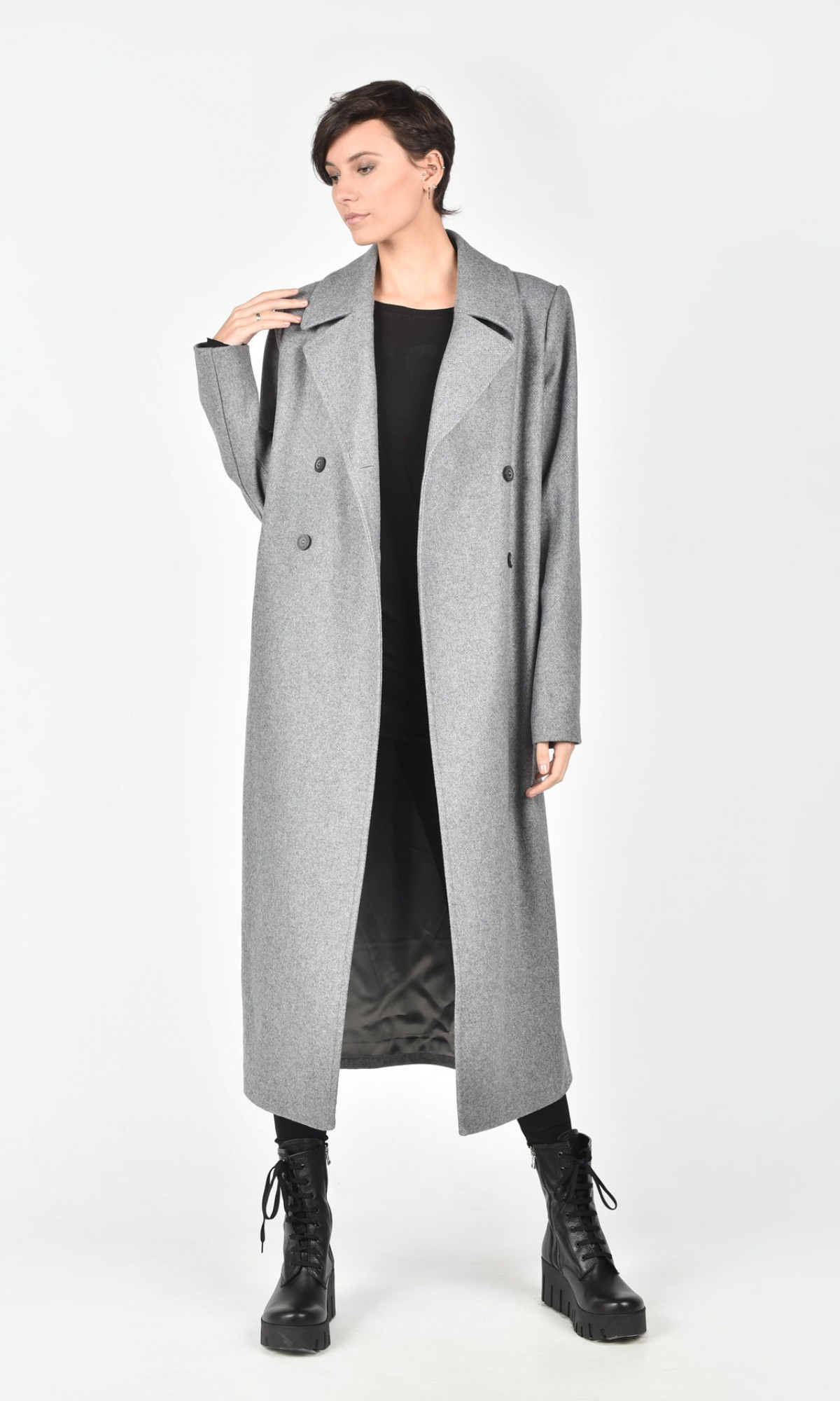 Double Breasted Wool Blend Coat A90143