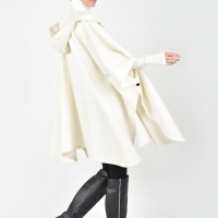 Hooded Cashmere Poncho Coat A07715