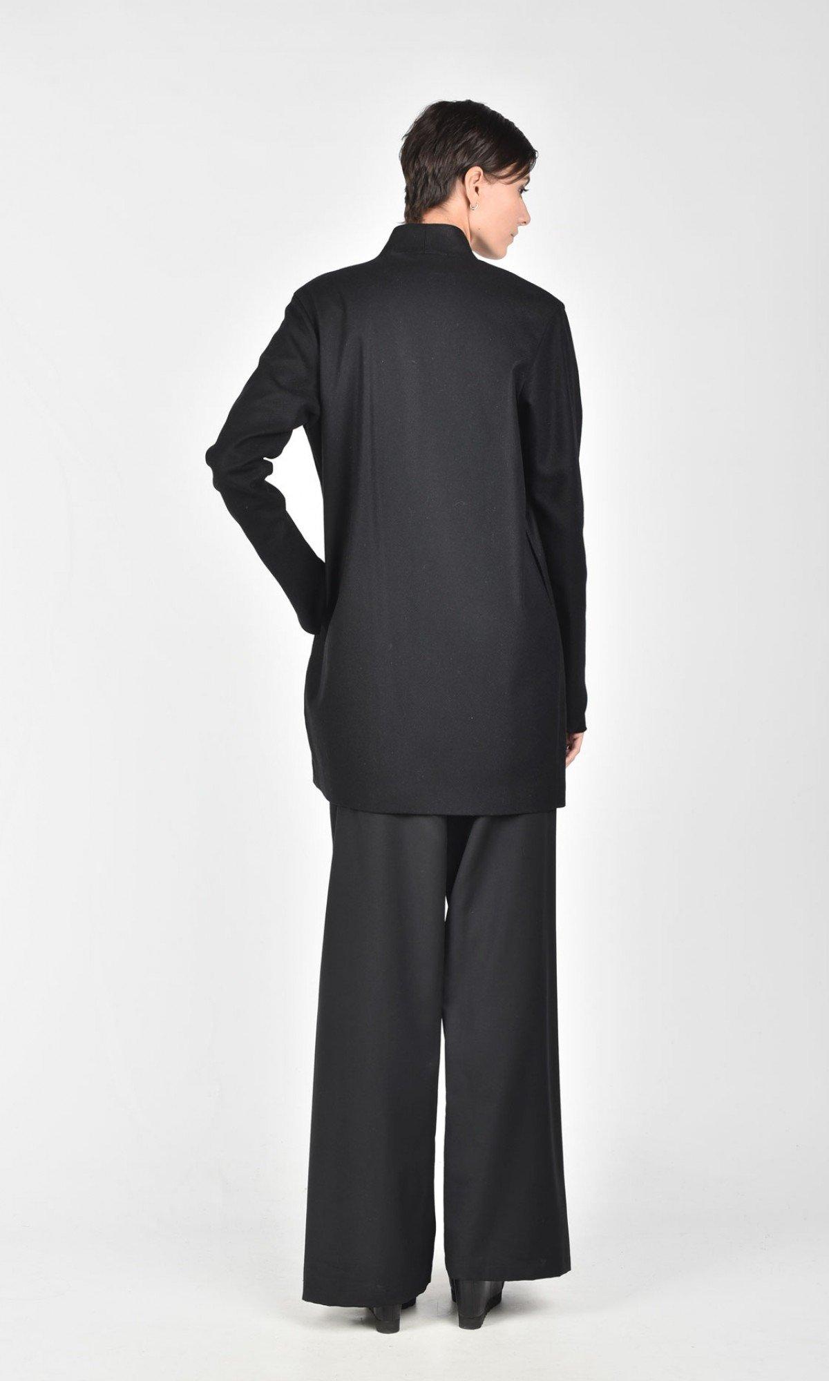 Short Wool Blend Straight Coat A07762