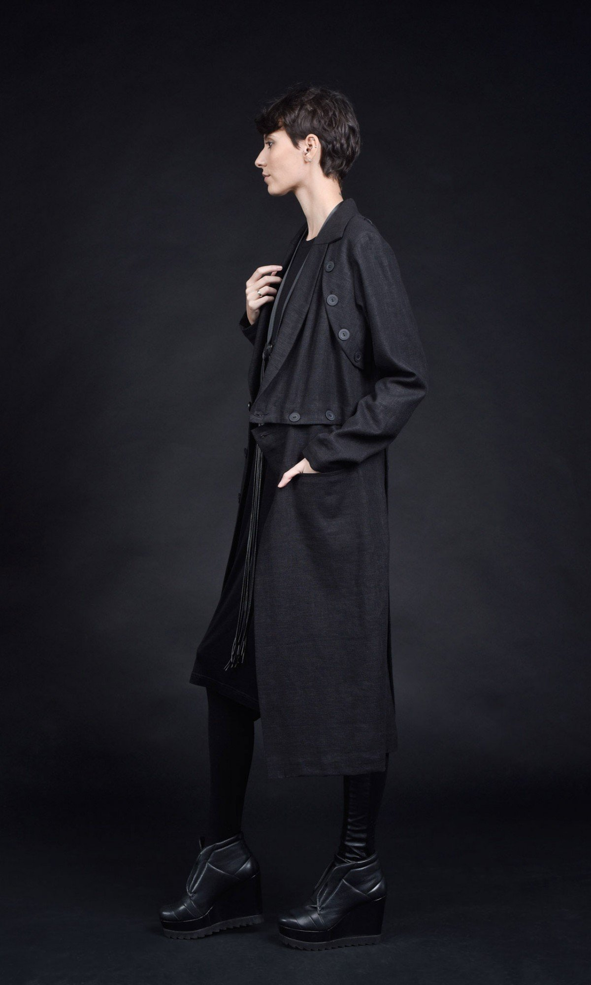 Sophisticated Extra Buttoned Linen Coat A90422