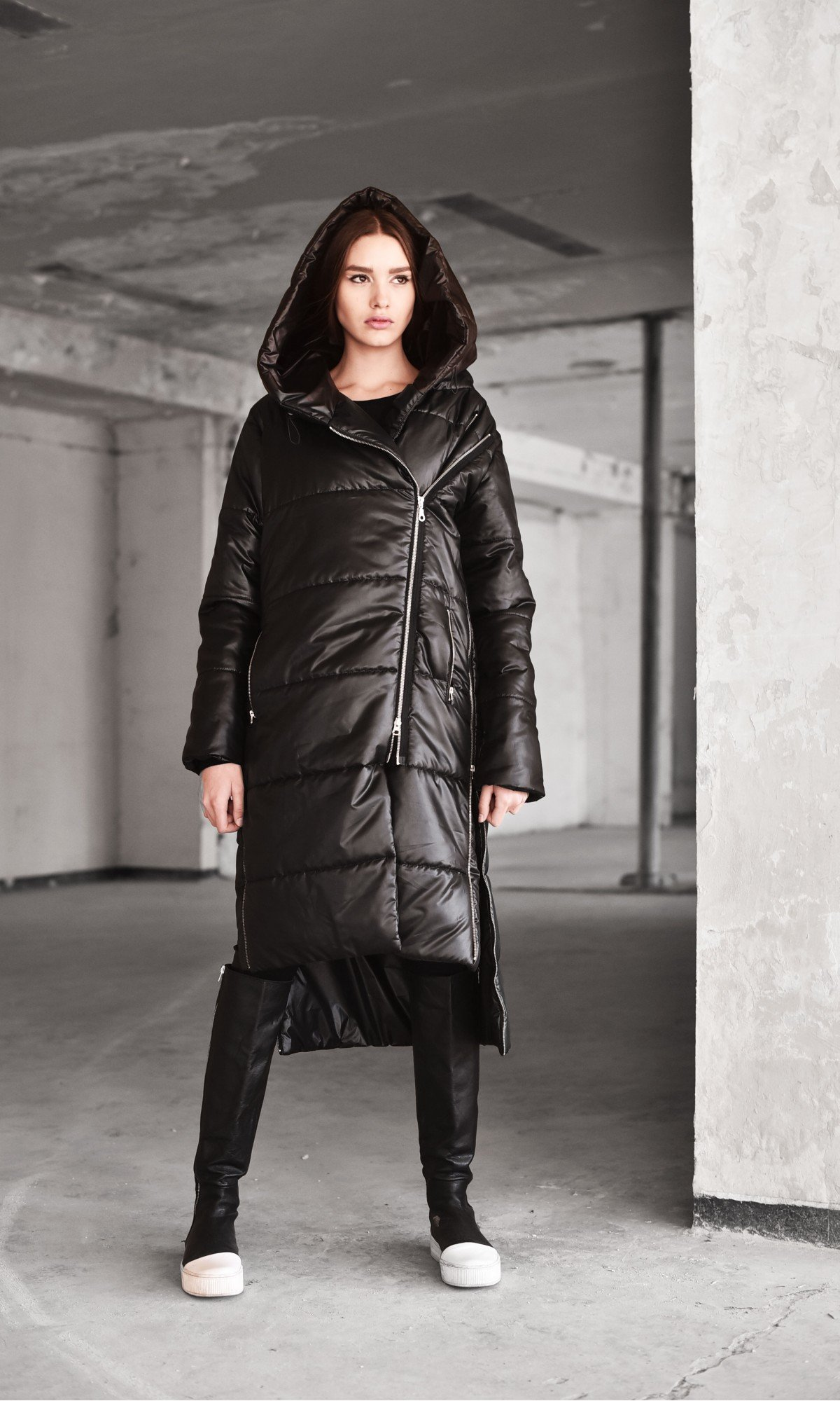 Asymmetric Black Quilted Hooded Coat  A20629