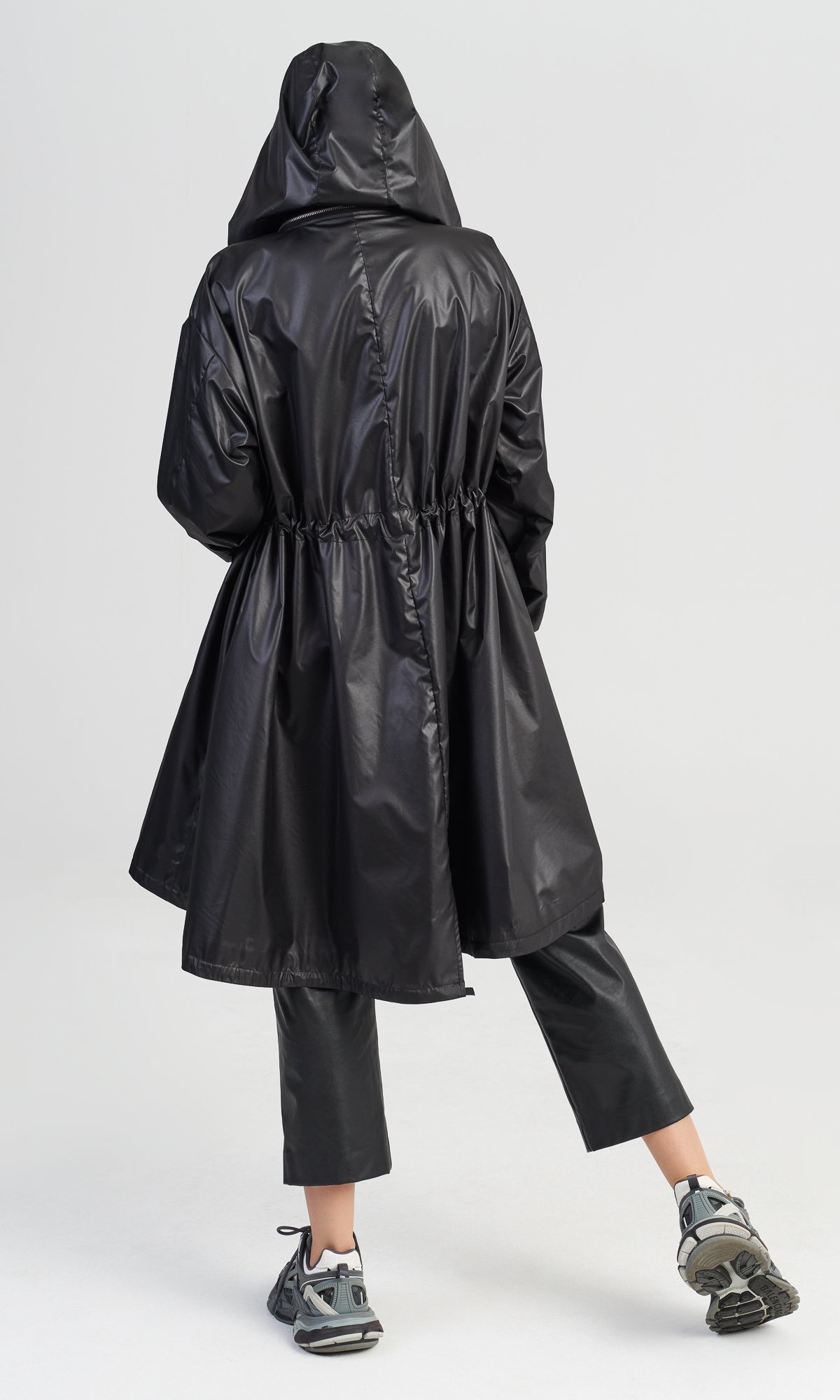 Hooded Raincoat with Backpack Straps