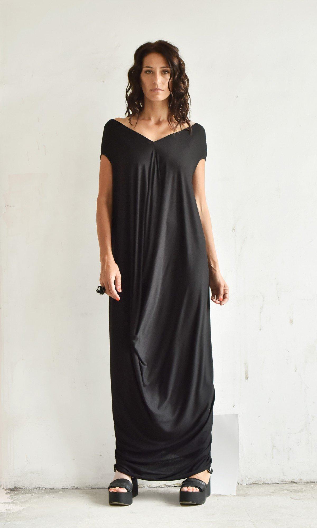 V Neck Floor Length Baggy Dress A03094