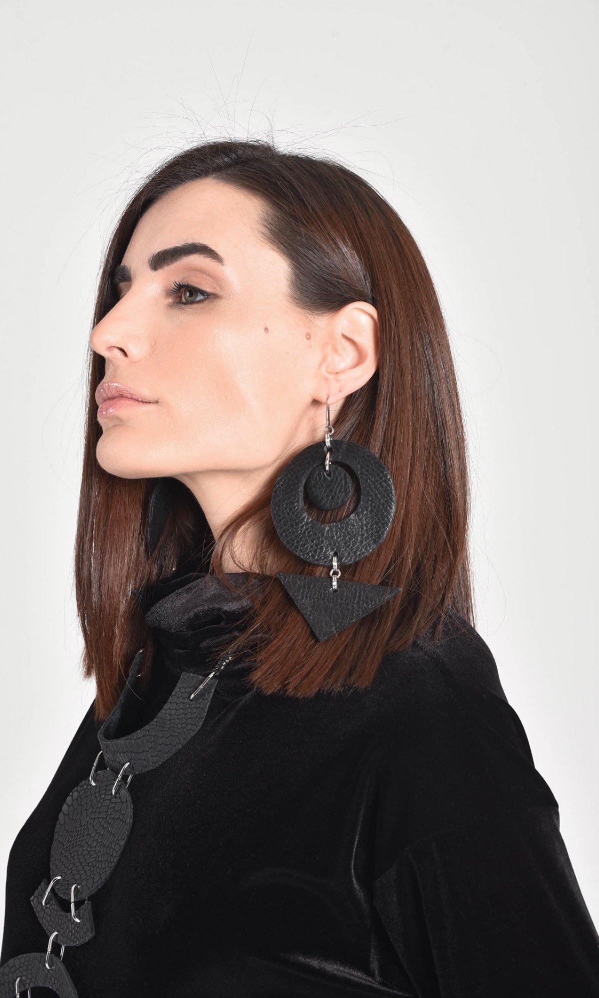 Croco Leather Petal Earrings A90457
