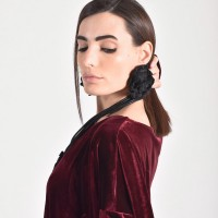 Beautiful Leather Rose Pendants Earrings A90458