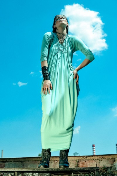 Asymmetric Draped Long Dress