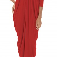 Asymmetric Draped Long Dress A03264