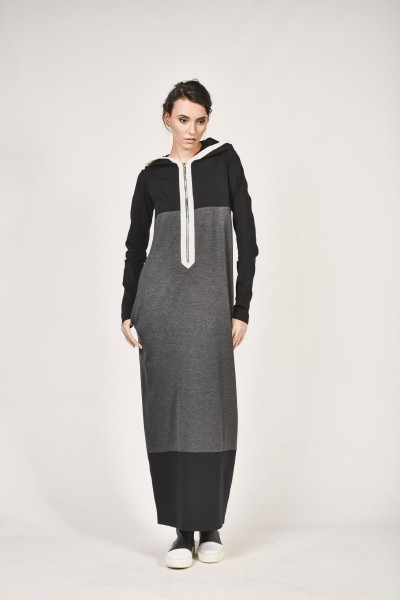 Maxi Autumn and Winter Hooded Dress A90003