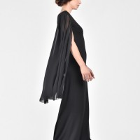 Elegant chiffon dress with Draped Sleeves A03028