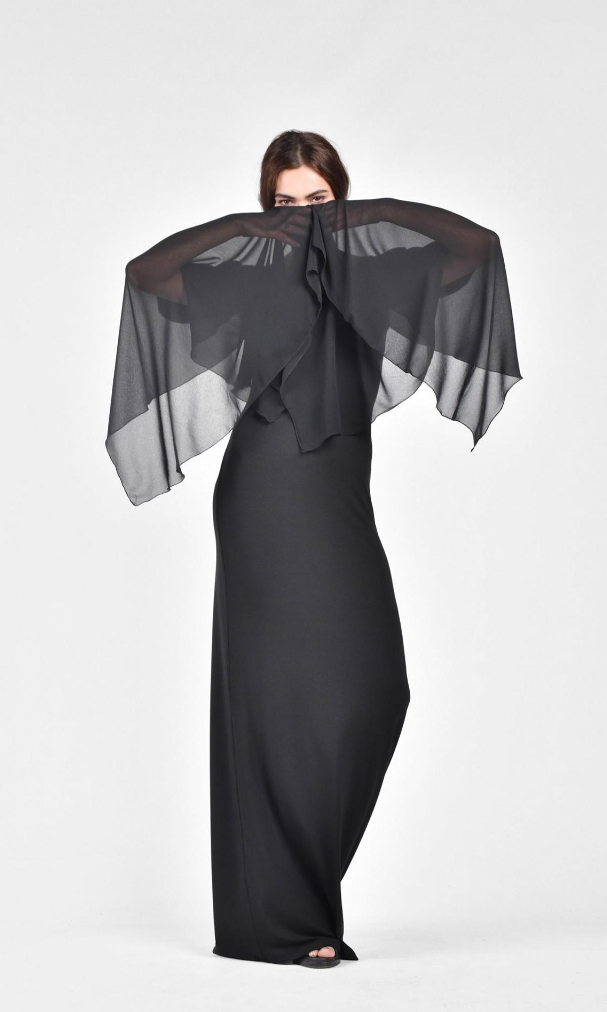 Elegant chiffon dress with Draped Sleeves A03028
