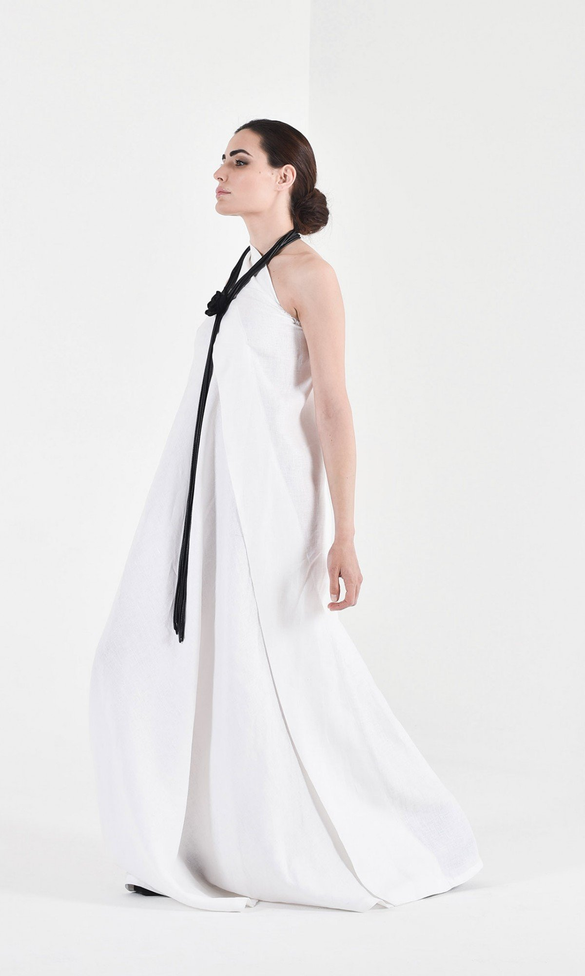 Maxi One Shoulder Linen Dress A03144
