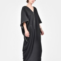 Black French Terry Cotton Dress A03163