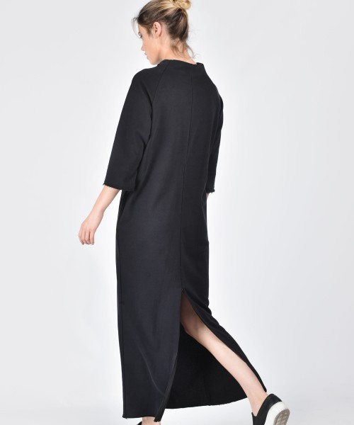 Black Maxi Slit Cotton Dress A03172