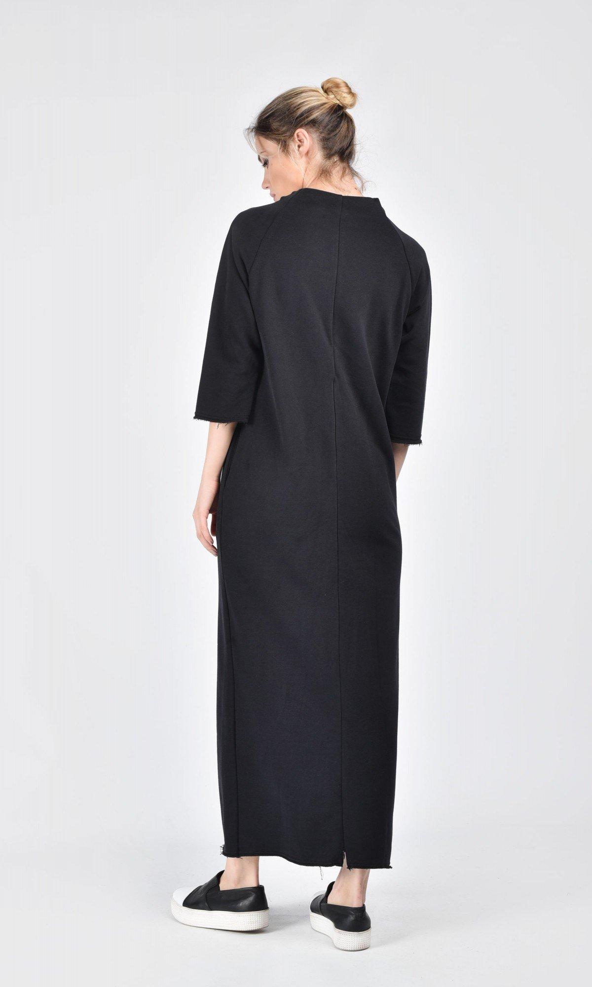 Black Cotton Side Slits Dress A03172
