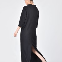 Black Cotton Side Slits Dress A03172