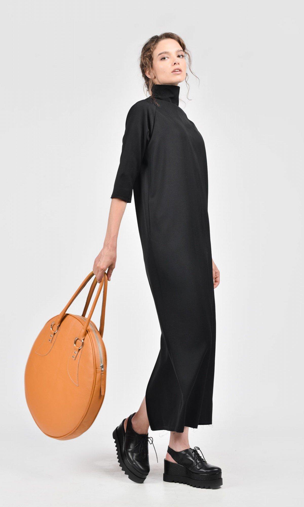 Black Cold Wool Dress A03179