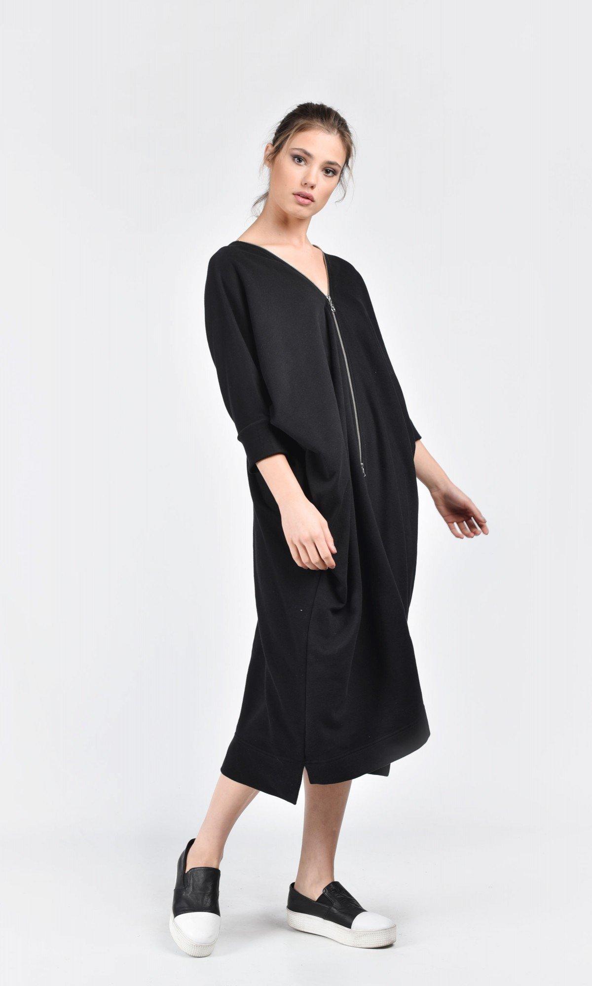 Oversized Cotton Dress with Long Zipper