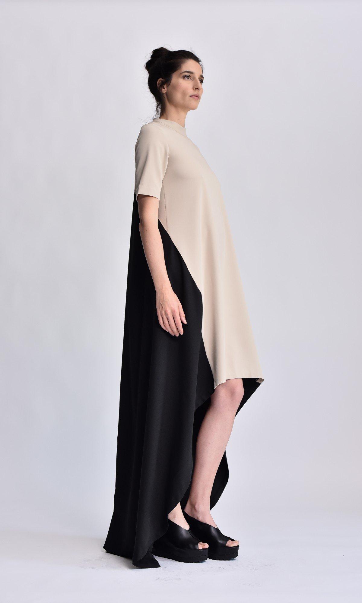 Bicolor High-Low Maxi Dress