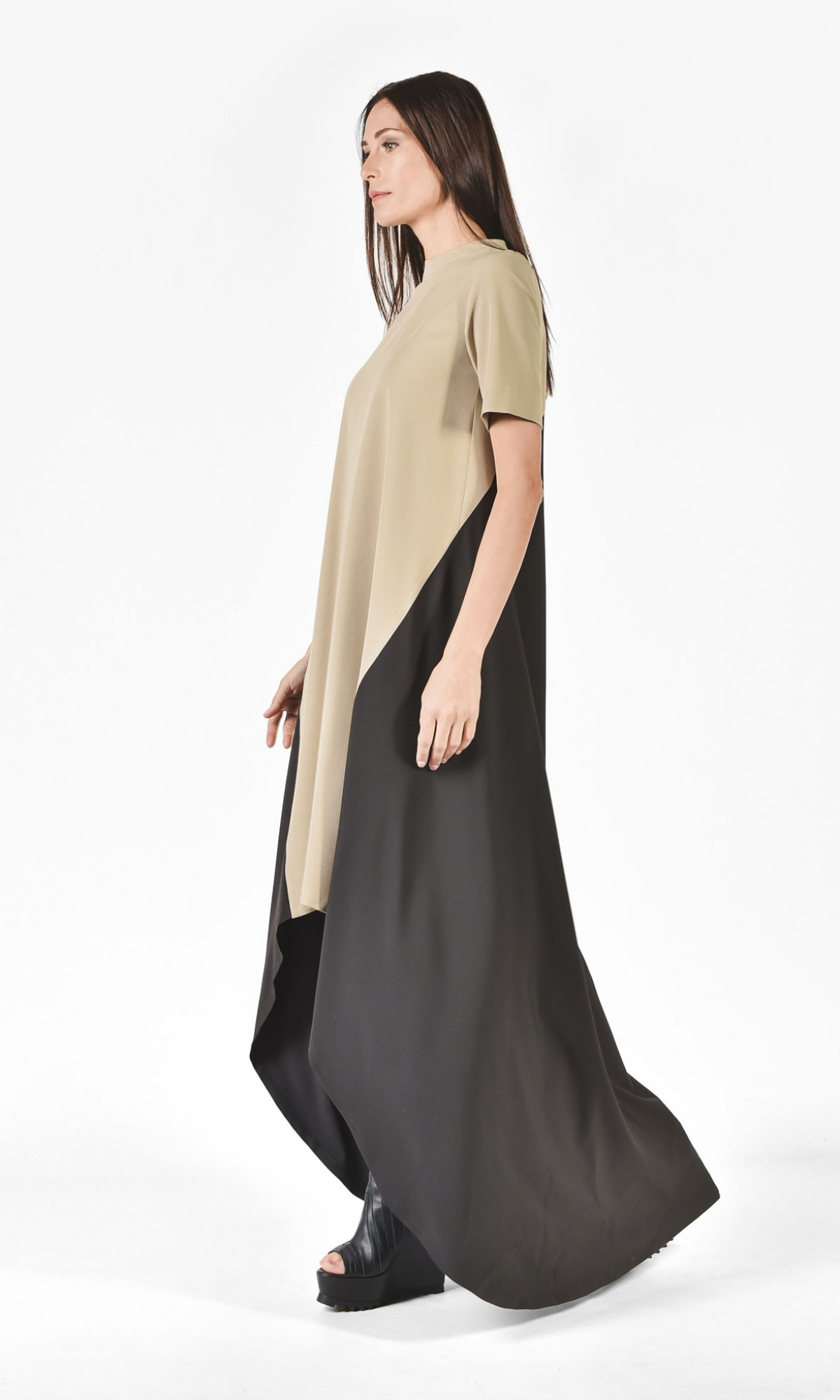 beige and black highlow maxi dress