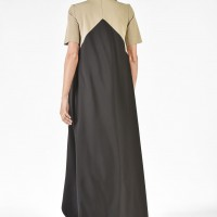 Beige and Black High-Low Maxi Dress A03221