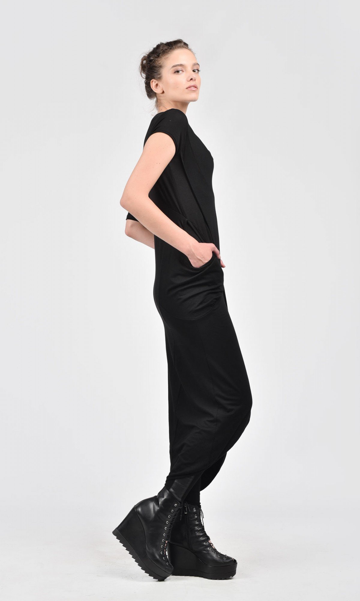 Straight Dress with Asymmetric Sleeves