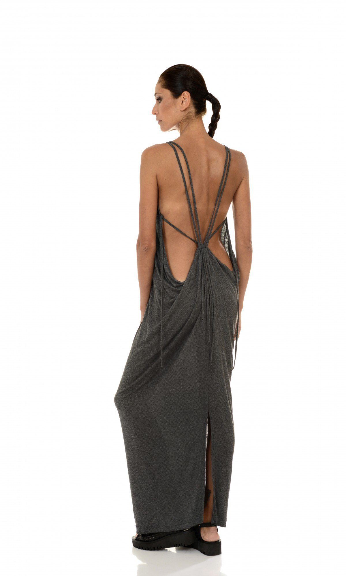 Ribbed Dress with Open Back