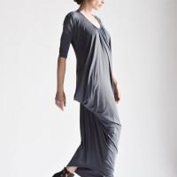 Asymmetric Draped Long Dress A03264