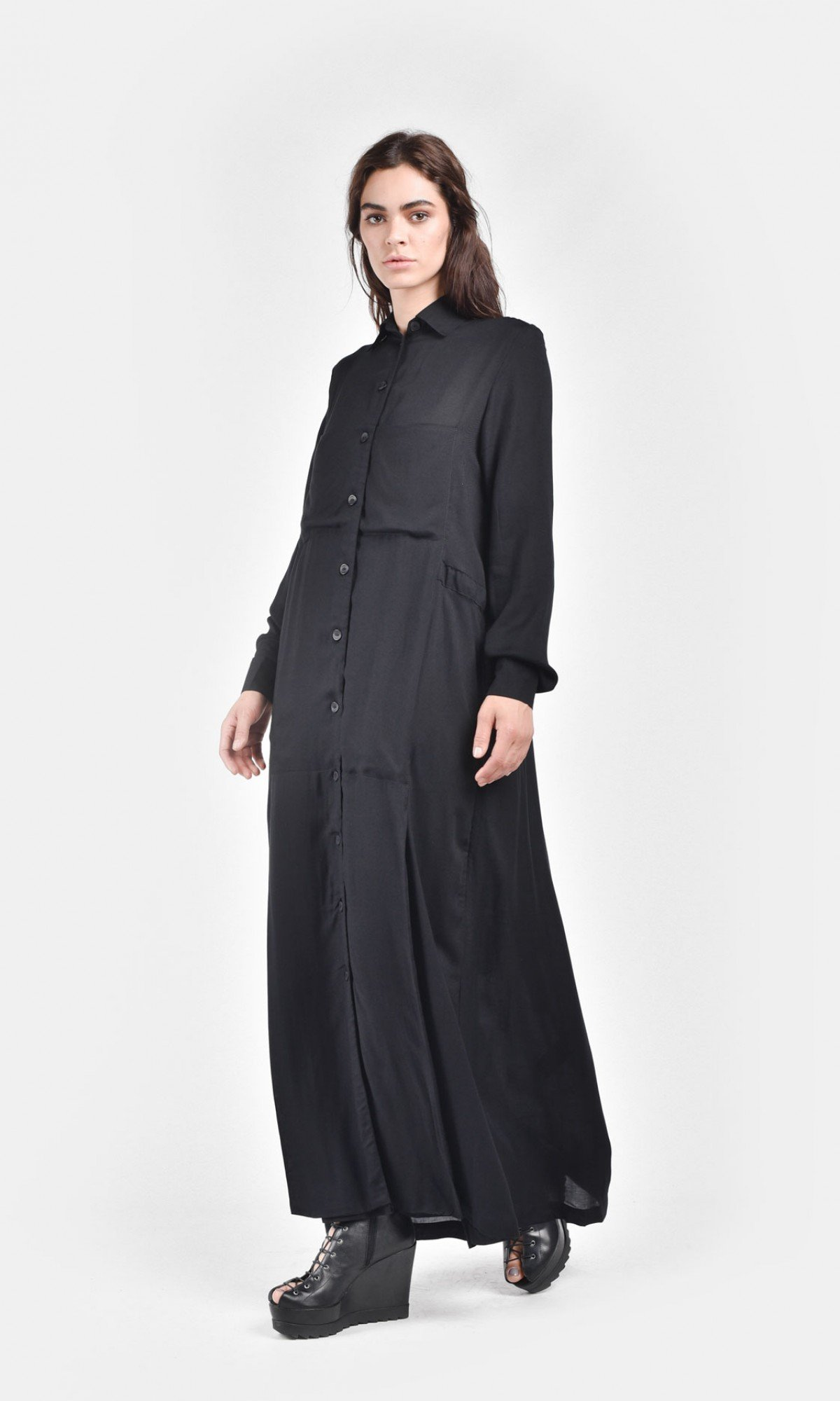 Black Maxi Dress with Side Pockets A03333