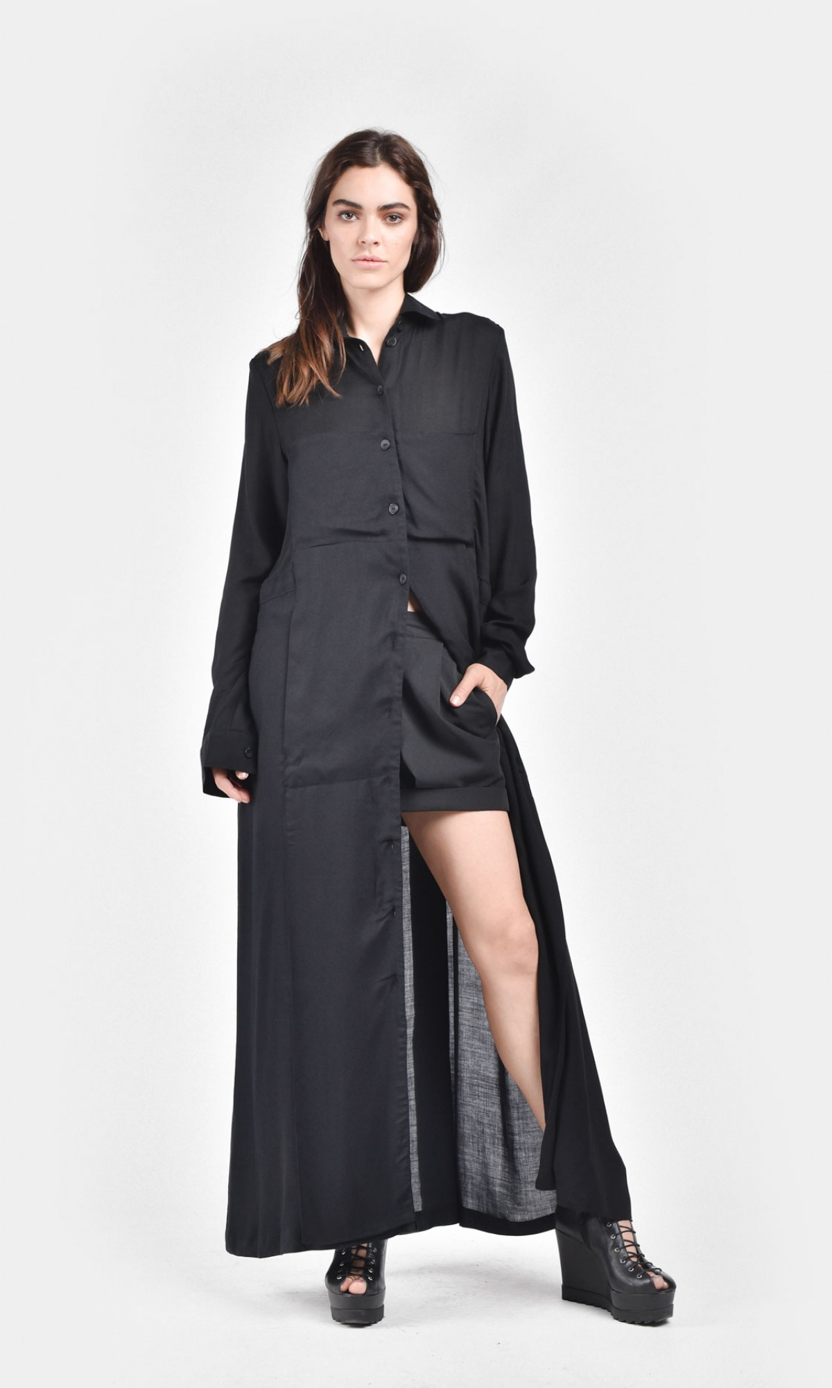 Black Maxi Dress with Side Pockets A03333